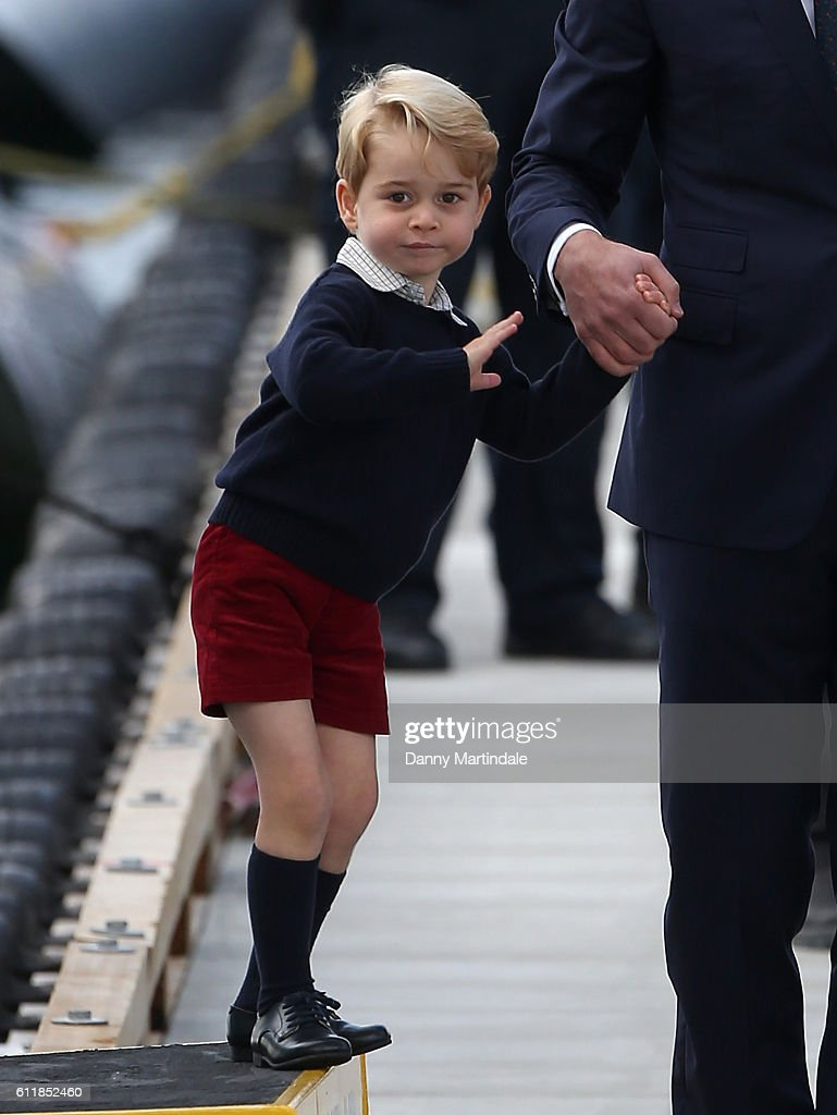 Prince George of Cambridge is seen leaving from Victoria Harbour Airport on October 1, 2016 in Victoria, Canada.