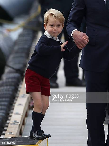 Prince George of Cambridge is seen leaving from Victoria Harbour Airport on October 1 2016 in Victoria Canada