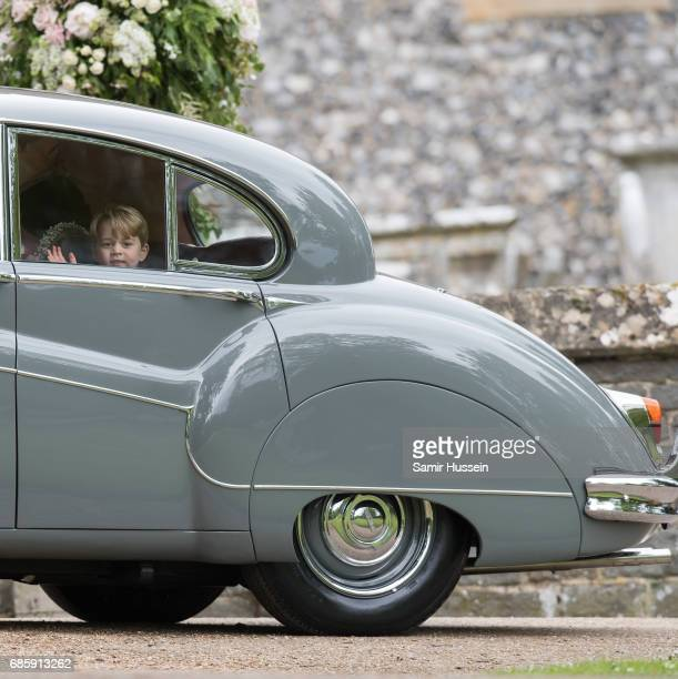 Prince George of Cambridge leaves by car from the wedding Of Pippa Middleton and James Matthews at St Mark's Church on May 20, 2017 in Englefield...