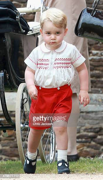 Prince George of Cambridge leaves the Church of St Mary Magdalene on the Sandringham Estate for the Christening of Princess Charlotte of Cambridge on...