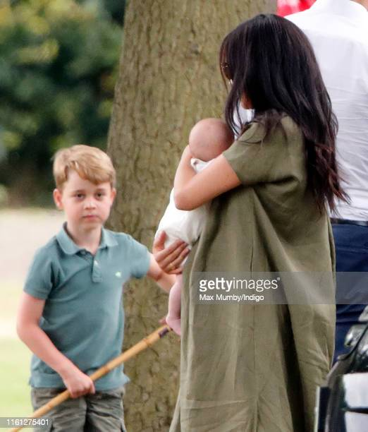 Prince George of Cambridge Meghan Duchess of Sussex and Archie Harrison MountbattenWindsor attend the King Power Royal Charity Polo Match in which...