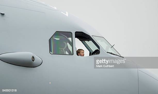 Prince George of Cambridge on a Australian Air Force Aircraft during a visit to The Royal International Air Tattoo at RAF Fairford on July 8 2016 in...