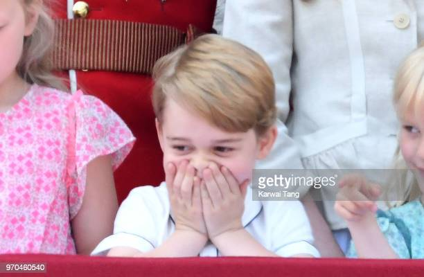 Prince George of Cambridge on the balcony of Buckingham Palace during Trooping The Colour 2018 at The Mall on June 9 2018 in London England The...