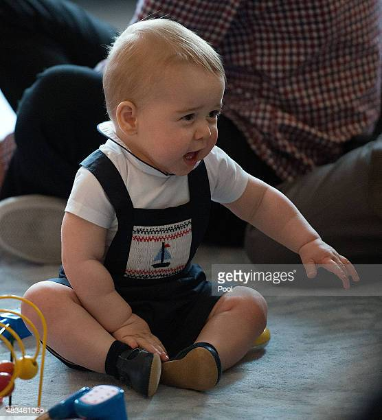 Prince George of Cambridge plays during a Plunket nurse and parents group visit at Government House on April 9 2014 in Wellington New Zealand Plunket...