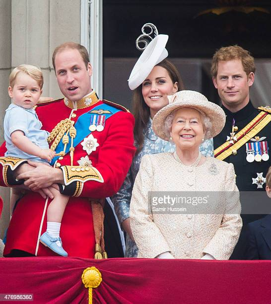 Prince George of Cambridge Prince William Duke of Cambridge Catherine Duchess of Cambridge Queen Elizabeth II and Prince Harry look on from the...