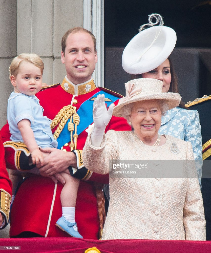 Prince George of Cambridge, Prince William, Duke of Cambridge Catherine, Duchess of Cambridge and Queen Elizabeth II look on from the balcony during the annual Trooping The Colour ceremony at Horse Guards Parade on June 13, 2015 in London, England.