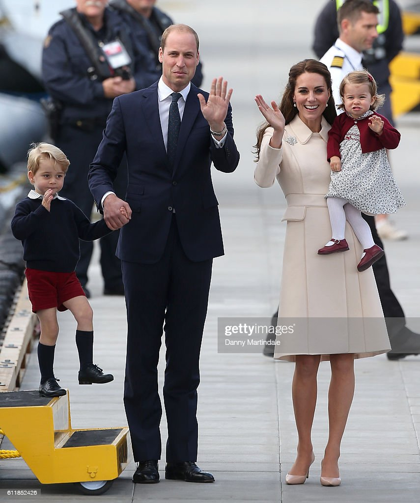 Prince George of Cambridge, Prince William, Duke of Cambridge, Catherine, Duchess of Cambridge, and Princess Charlotte of Cambridge are seen leaving from Victoria Harbour Airport on October 1, 2016 in Victoria, Canada.