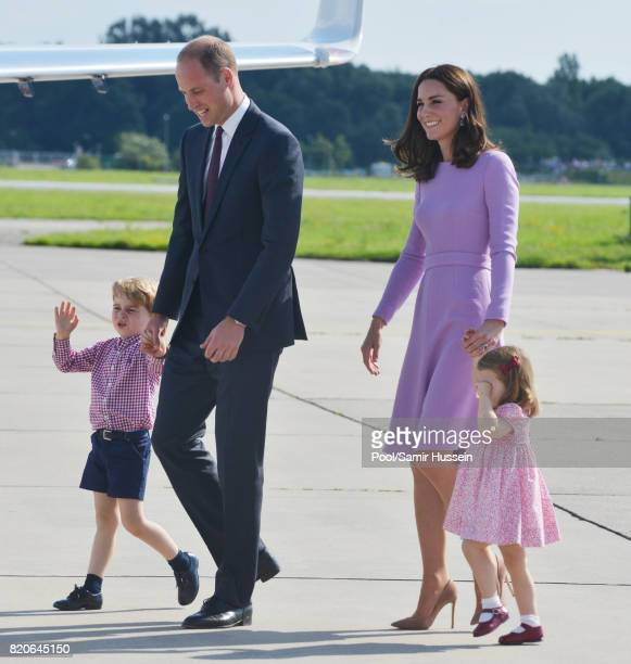 Prince George of Cambridge Prince William Duke of Cambridge Catherine Duchess of Cambridge and Princess Charlotte of Cambridge depart from Hamburg...