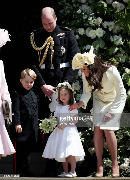 Prince George of Cambridge Prince William Duke of Cambridge Princess Charlotte of Cambridge and Catherine Duchess of Cambridge after the wedding of...