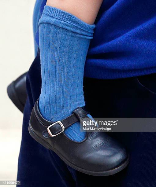 Prince George of Cambridge, shoe detail, arrives at the Lindo Wing after Catherine, Duchess of Cambridge gave birth to a baby girl at St Mary's...