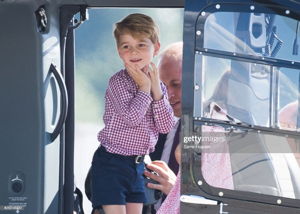 Prince George of Cambridge views helicopter models H145 and H135 before departing from Hamburg airport on the last day of their official visit to Poland and Germany on July 21, 2017 in Hamburg, Germany.