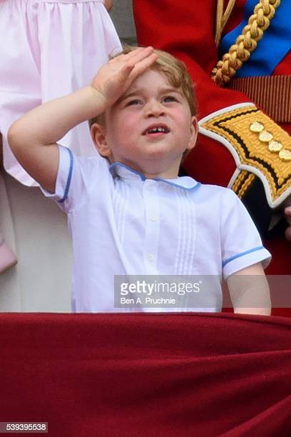 Prince George of Cambridge watches a fly past during the Trooping the Colour, this year marking the Queen's 90th birthday at The Mall on June 11,...