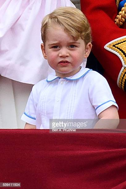 Prince George of Cambridge watches a fly past during the Trooping the Colour this year marking the Queen's 90th birthday at The Mall on June 11 2016...