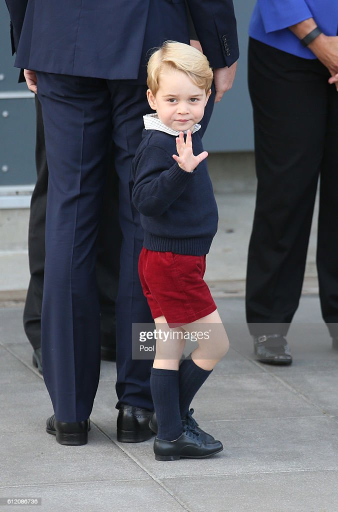 Prince George of Cambridge waves as he leaves from Victoria Harbour to board a sea-plane on the final day of their Royal Tour of Canada on October 1, 2016 in Victoria, Canada. The Royal couple along with their Children Prince George of Cambridge and Princess Charlotte are visiting Canada as part of an eight day visit to the country taking in areas such as Bella Bella, Whitehorse and Kelowna
