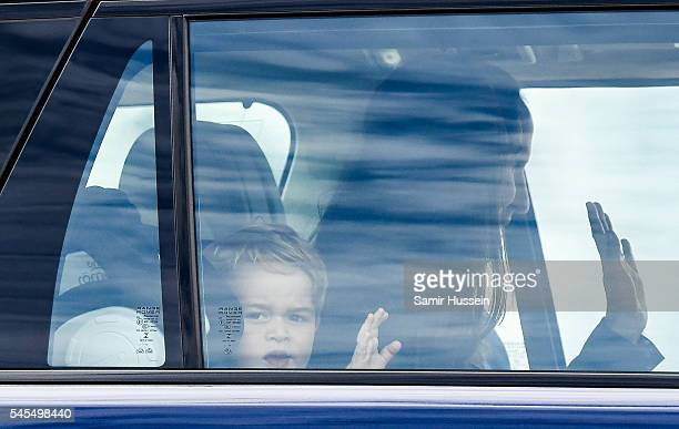 Prince George of Cambridge waves from a car as he attends the The Royal International Air Tattoo at RAF Fairford on July 8 2016 in Fairford England