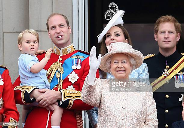 Prince George of CambridgePrince William Duke of Cambridge Catherine Duchess of Cambridge Queen Elizabeth II Prince Harry look out on the balcony of...