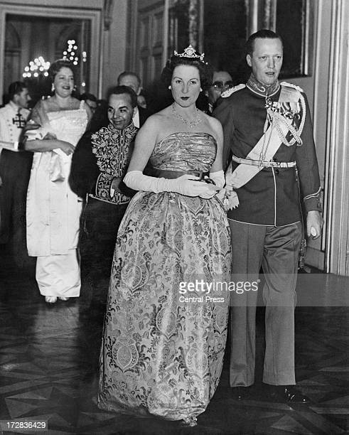 Prince George of Denmark and his wife Princess Anne of Denmark attend a banquet given by the Belgian government at the Royal Palace of Brussels 14th...