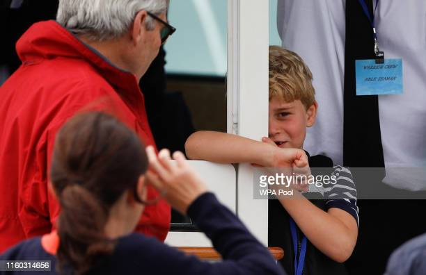 Prince George watches the inaugural King's Cup regatta hosted by the Duke and Duchess of Cambridge on August 9 2019 at Cowes on the Isle of Wight...
