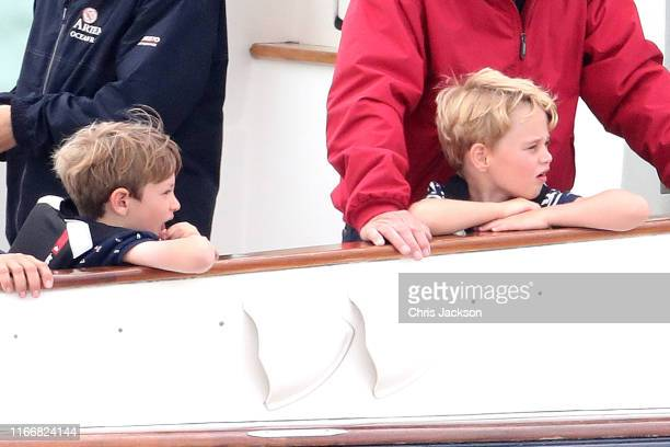 Prince George watches the inaugural King's Cup regatta hosted by the Duke and Duchess of Cambridge on August 08 2019 in Cowes England Their Royal...