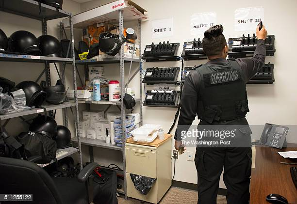 Prince Georges County emergency response officer picks up her body camera at the start of her shift in Upper Marlboro MD on January 28 2016 Only the...