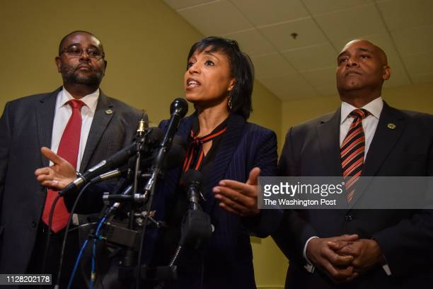 Prince Georges County Executive Angela Alsobrooks is flanked by state lawmakers from Prince Georges County Del Darryl Barnes L chair of the black...