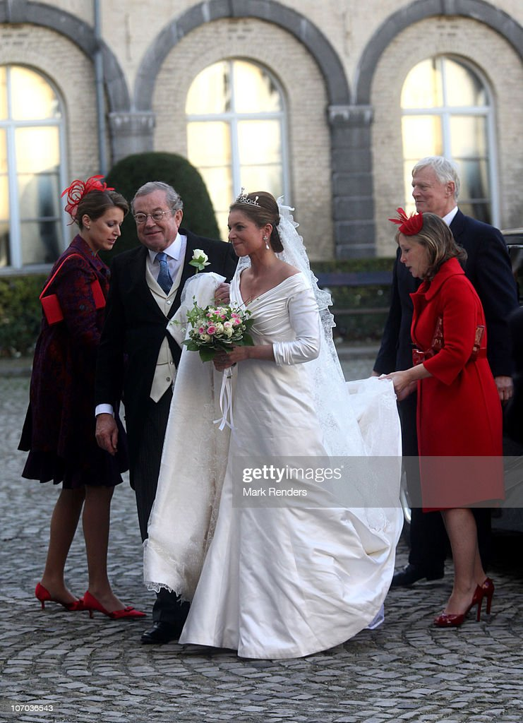Prince Gualtherie van Weezel and Princess Annemarie Gualtherie van Weezel arrive for the Royal Wedding of Princess Annemarie Gualtherie van Weezel and Prince Carlos de Bourbon de Parme at Abbaye de la Cambre on November 20, 2010 in Brussels, Belgium.
