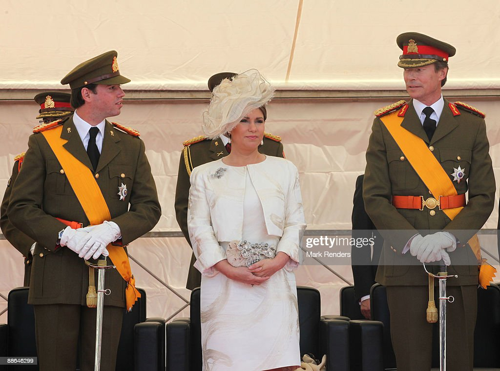 Prince Guillaume and Grand Duchess Maria Teresa and Grand Duke Henri from Luxembourg assist the military Parade on National Day on June 23, 2009 in Luxembourg, Luxembourg.
