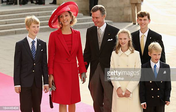 Prince Guillaume and Princess Sibilla of Luxembourg and their children attend the wedding ceremony of Prince Guillaume Of Luxembourg and Princess...