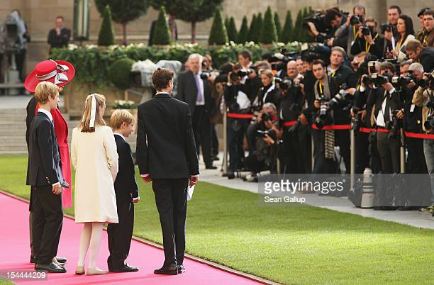 Prince Guillaume and Princess Sibilla of Luxembourg arrive with their children for the wedding ceremony of Prince Guillaume Of Luxembourg and...