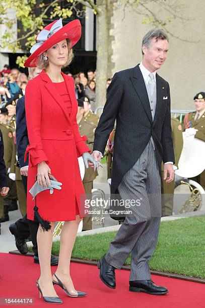 Prince Guillaume and Princess Sibilla of Luxembourg attend the wedding ceremony of Prince Guillaume Of Luxembourg and Princess Stephanie of...
