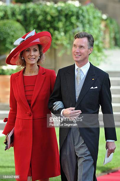 Prince Guillaume and Princess Sibilla of Luxembourg emerge from the Cathedral following the wedding ceremony of Prince Guillaume Of Luxembourg and...