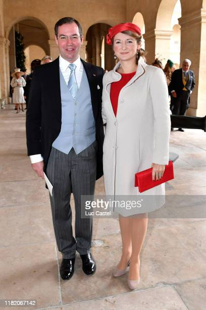 Prince Guillaume de Luxembourg and his wife Stephanie de Lannoy attend the Wedding of Prince JeanChristophe Napoleon and Olympia Von ArcoZinneberg at...