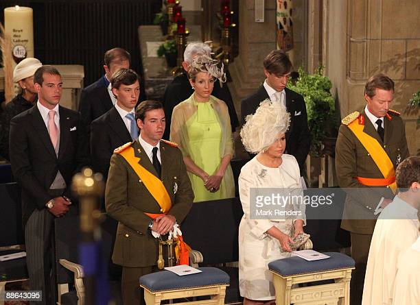 Prince Guillaume Grand Duchess Maria Teresa Grand Duc Henri Prince Felix Prince Sebastien and Princess Tessy and Prince Louis from Luxembourg assists...