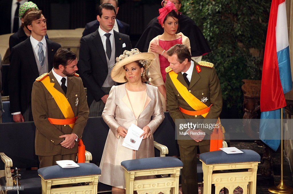 Prince Guillaume, Grand Duchess Maria Teresa, Grand Duke Henri, Princess Tessy, Prince Louis, Prince Felix and Princess Alexandra of Luxembourg assist National Day Celebrations on June 23, 2012 in Luxembourg, Luxembourg.