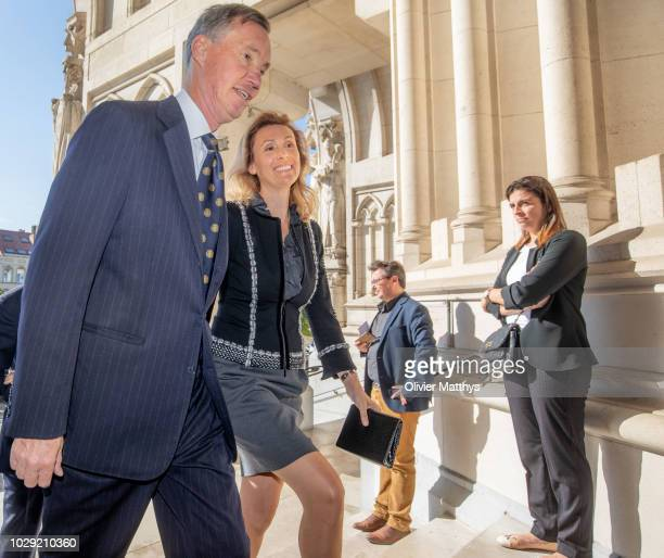 Prince Guillaume, Hereditary Grand Duke of Luxembourg and Princess Sibilla of Luxembourg arrive prior to attend a mass to remember the 25th...