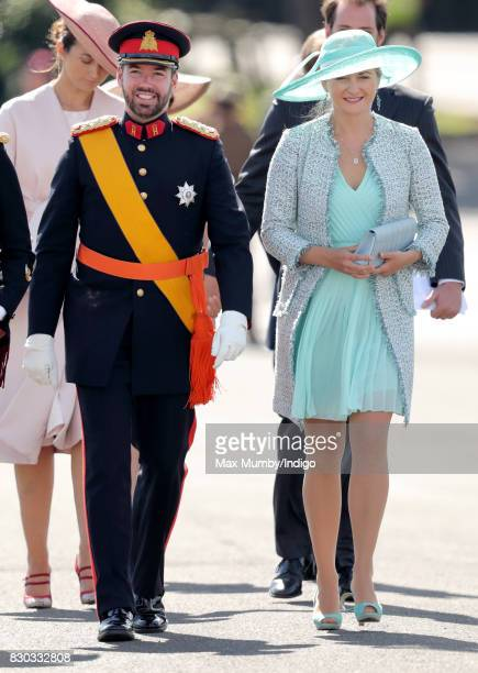 Prince Guillaume Hereditary Grand Duke of Luxembourg and Princess Stephanie of Luxembourg attend the Sovereign's Parade at the Royal Military Academy...