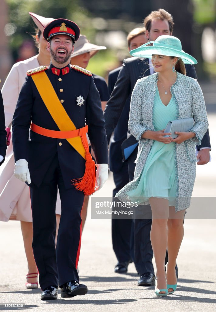 Prince Guillaume, Hereditary Grand Duke of Luxembourg and Princess Stephanie of Luxembourg attend the Sovereign's Parade at the Royal Military Academy Sandhurst on August 11, 2017 in Camberley, England. The Sovereign's Parade takes place in the Old College Square at Sandhurst's Royal Military Academy at the end of each term and marks the passing out of Officer Cadets who have completed the commissioning course. Grand Duke Henri of Luxembourg graduated from the Royal Military Academy in 1975 and today his son Prince Sebastien of Luxembourg was one of the graduating Officer Cadets.