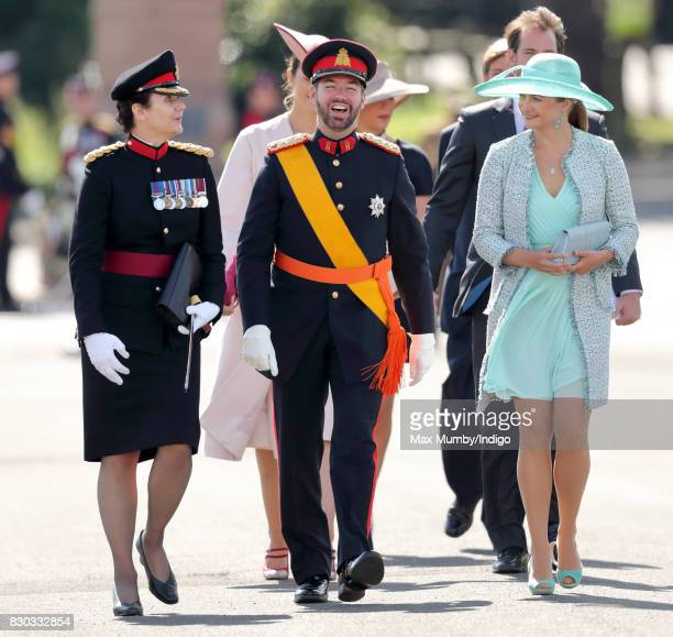 Prince Guillaume, Hereditary Grand Duke of Luxembourg and Princess Stephanie of Luxembourg attend the Sovereign's Parade at the Royal Military...