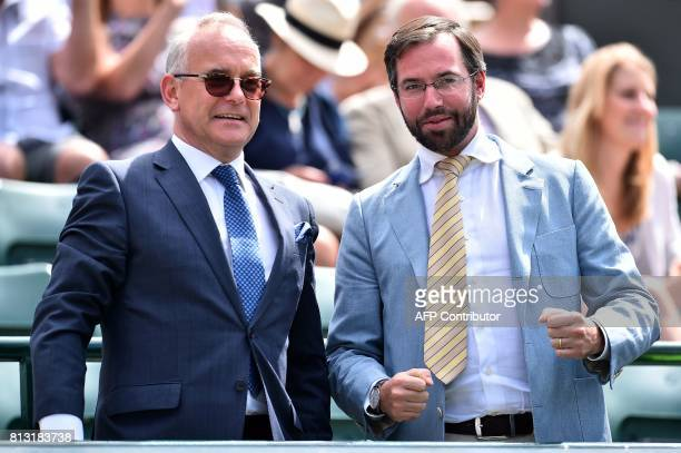 Prince Guillaume Hereditary Grand Duke of Luxembourg arrives on court to watch Luxembourg's Gilles Muller play against Croatia's Marin Cilic during...