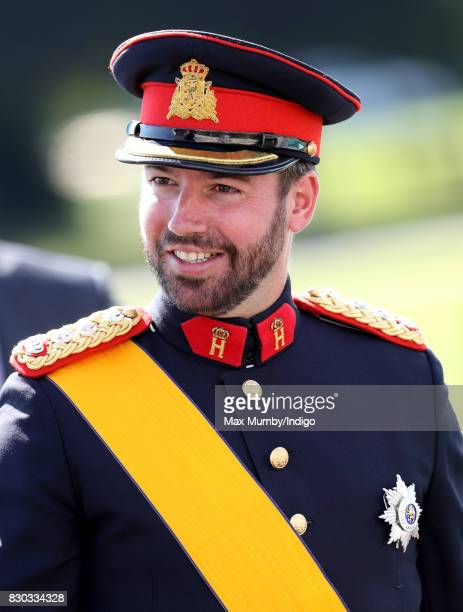 Prince Guillaume Hereditary Grand Duke of Luxembourg attends the Sovereign's Parade at the Royal Military Academy Sandhurst on August 11 2017 in...