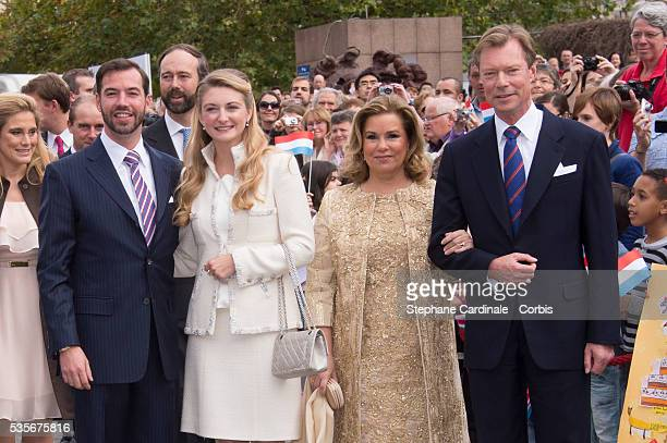 Prince Guillaume of Luxembourg and Countess Stephanie de Lannoy arrive at the civil wedding ceremony at the Hotel De Ville of Luxembourg, with Henri,...
