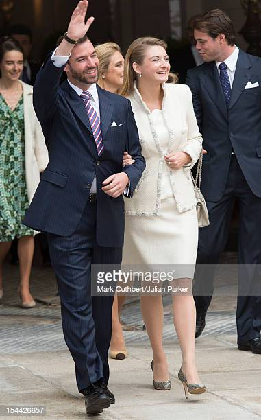 Prince Guillaume Of Luxembourg and Countess Stephanie de Lannoy leave the Royal Palace for their civil ceremony at the Hotel De Ville on October 19...