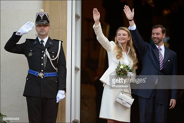 Prince Guillaume Of Luxembourg and Countess Stephanie de Lannoy during their civil wedding ceremony at the Hotel De Ville on October 19, 2012 in...