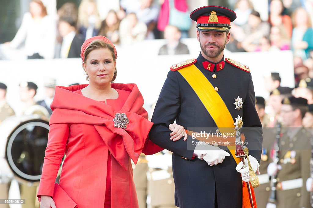 Prince Guillaume of Luxembourg and Duchess Marie Theresia of Luxembourg attend the wedding ceremony of Prince Guillaume of Luxembourg and Princess Stephanie of Luxembourg at the Cathedral of our Lady of Luxembourg, in Luxembourg.