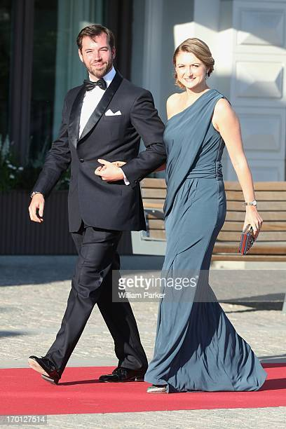 Prince Guillaume of Luxembourg and Her Royal Highness Princess Stephanie of Luxembourg attends a private dinner on the eve of the wedding of Princess...