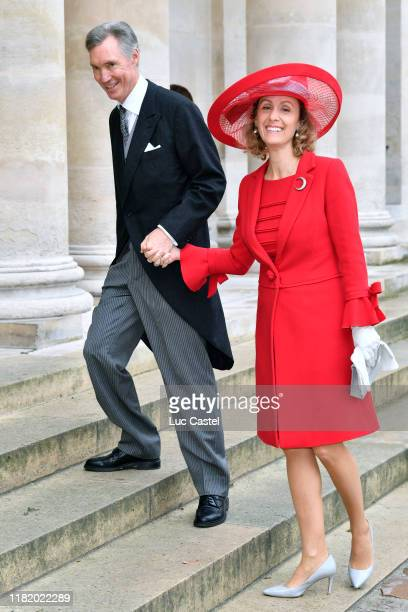 Prince Guillaume of Luxembourg and Princess Sibilla of Luxembourg attend the Wedding of Prince Jean-Christophe Napoleon and Olympia Von...