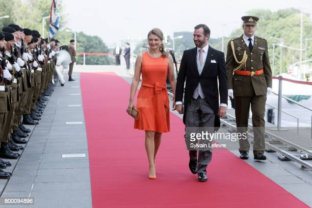 Prince Guillaume of Luxembourg and Princess Stephanie arrive at Luxembourg Philarmonie hall for official reception of National Day on June 23 2017 in...