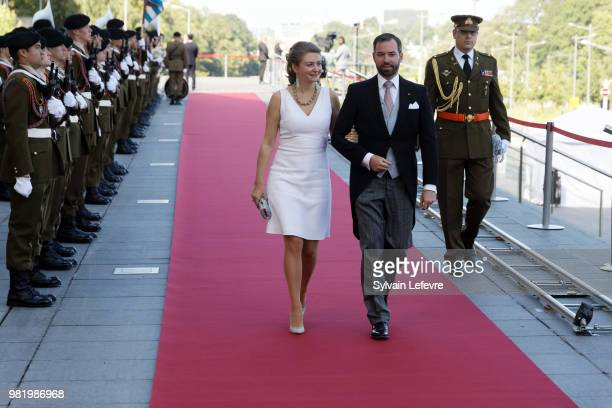 Prince Guillaume of Luxembourg and Princess Stephanie arrive at Luxembourg Philarmonie hall for official reception of National Day on June 23 2018 in...