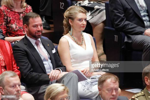 Prince Guillaume of Luxembourg and Princess Stephanie attend official reception at Luxembourg Philarmonie hall for National Day on June 23 2018 in...