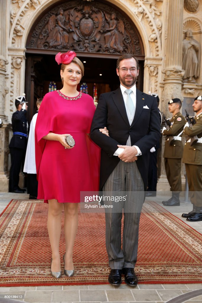 Prince Guillaume of Luxembourg and Princess Stephanie leave Notre Dame du Luxembourg cathedral after attending Te Deum for National Day on June 23, 2017 in Luxembourg, Luxembourg.